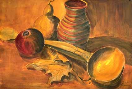 Wooden Scoop with Jug, Calabash and - Heinz Sterzenbach