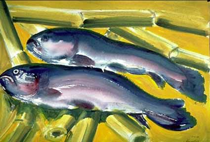 Two Fishes on bamboo-cane - Heinz Sterzenbach