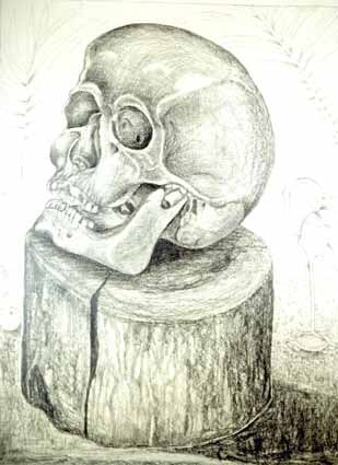 Cranium of a Death on a Wooden Block - Heinz Sterzenbach