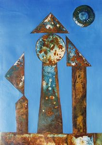 VU 164 Iron Sculpture with three Fig