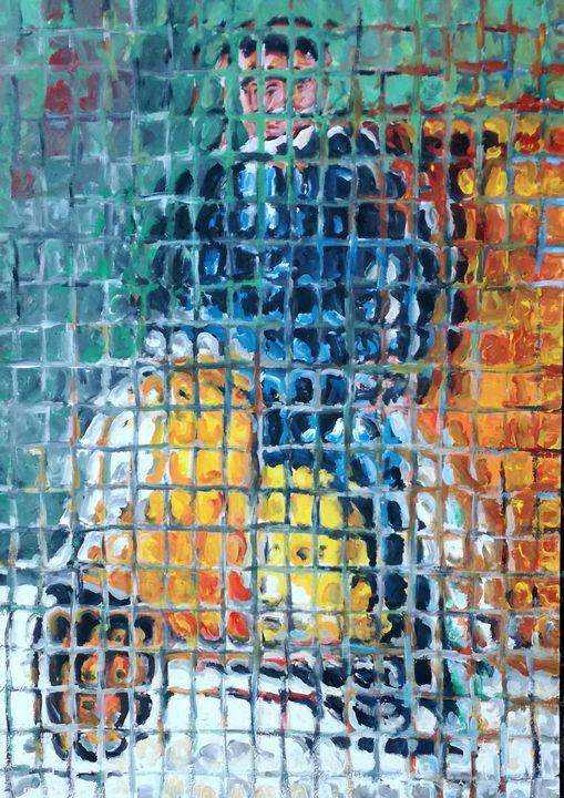 Uomo in vespa (man on motorcycle) - Paolo Avanzi art gallery