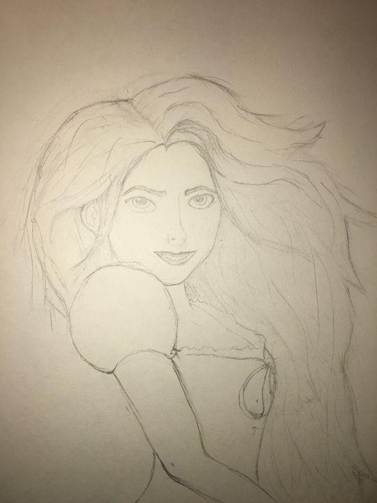 Woman in wind - Cassandra