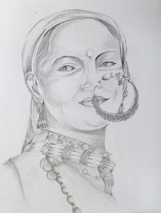 Lady with nath(pencil shading)