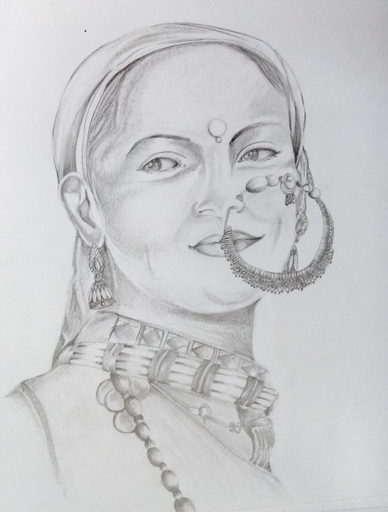 Lady with nath(pencil shading) - Ehsaas