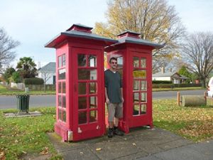 Red telephone boxes, Ross, Tasmania.