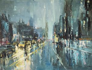 Impressionist New York in the rain