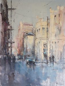 Impressionist cityscape in the rain