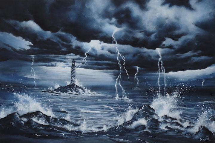 Lighthouse Storm - Art by Kintner
