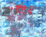 Black,blue, white and red painting