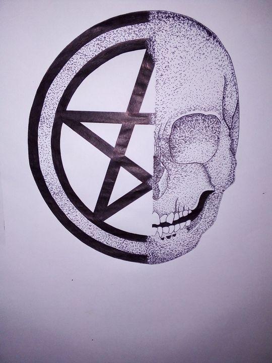 Half Skull Half Pentagram - RitaDarkArt