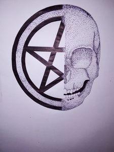 Half Skull Half Pentagram