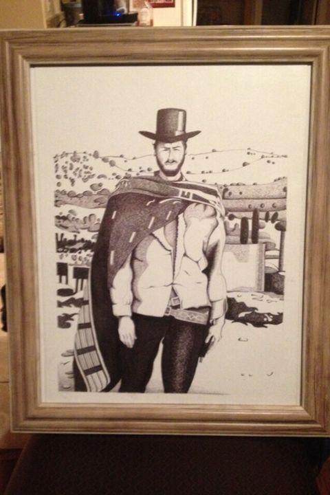 Clint Eastwood Cowboy Ink Portrait -  Sweetsb85