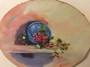 Blue enamel strawberry container