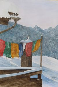 Prayer flags in the snow