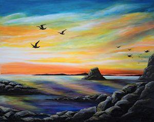 Rocky seaside sunrise