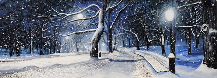 Snowy Night - Gesso Fresco