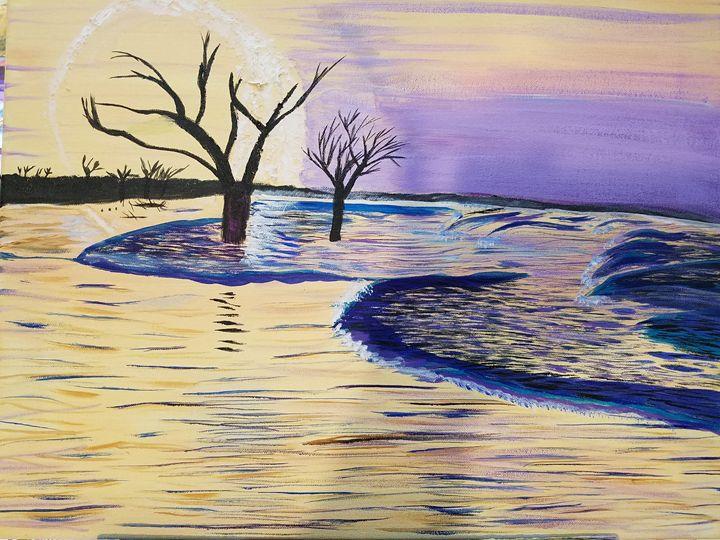 Moon Setting on Alien World - Lyndall's Artwork
