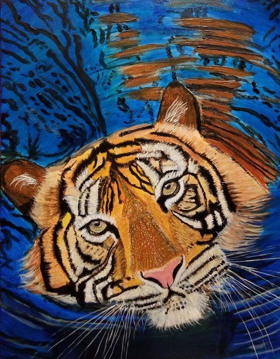 Swimming Tiger - Lyndall's Artwork