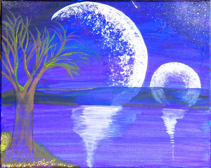 Two Moons Over Water - Lyndall's Artwork