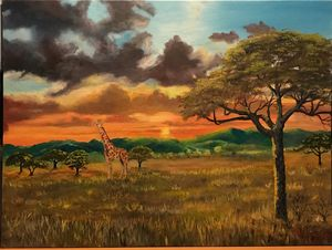 Giraffe in the evening sunset