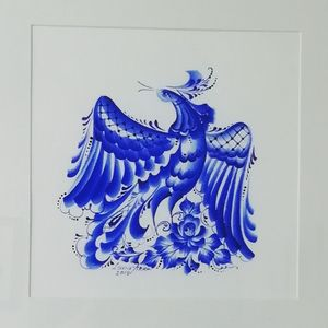Hand painted blue and white bird