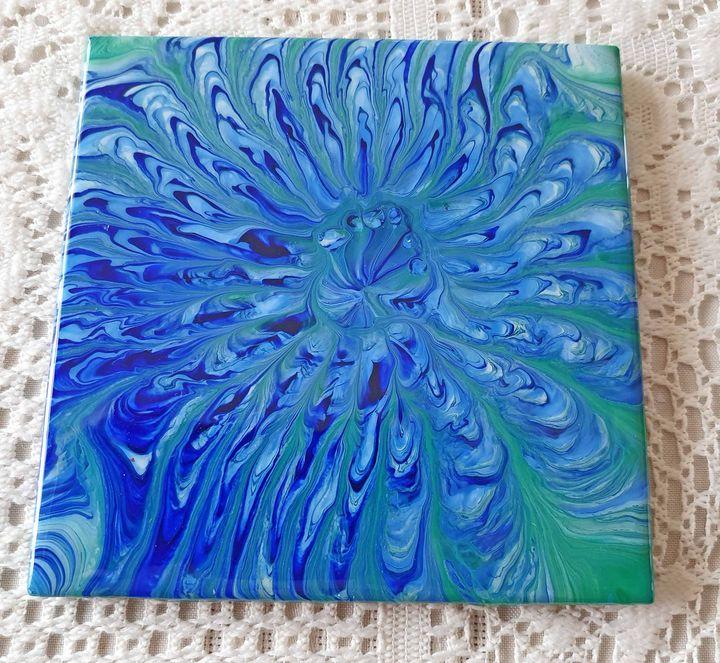 Acrylic Paint Poured Tile Trivet - AGD Pours Fluid Art