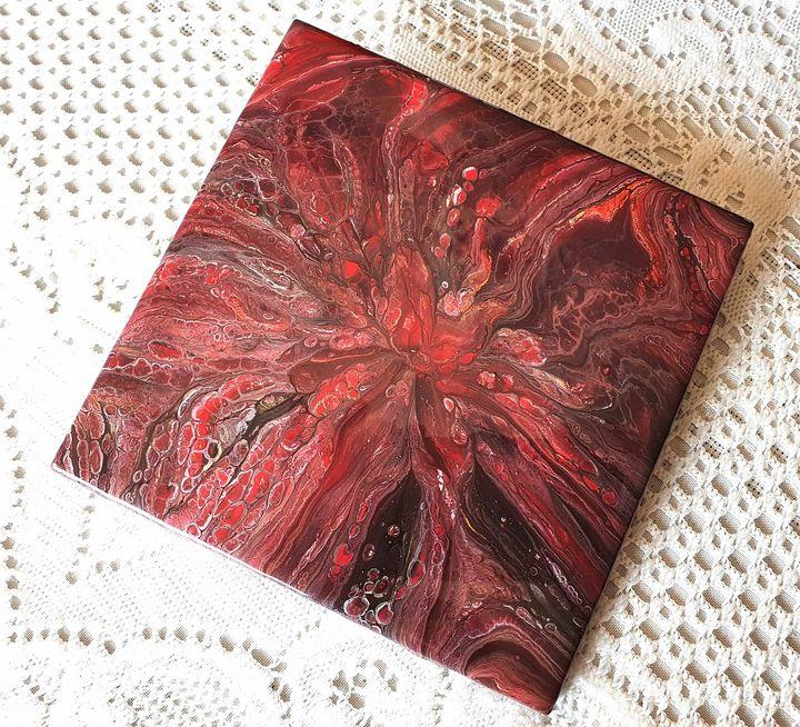 Red Fire Lily Tile Trivet - AGD Pours Fluid Art