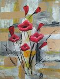 acrylic painting, poppies