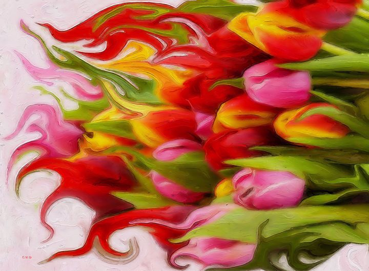 Tulips on flame - GabriellasArt by Gabriella Weninger-David