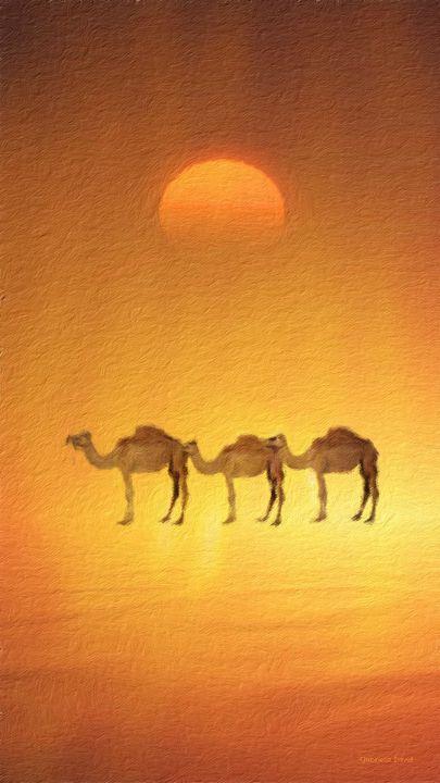 Desert, Camels and Sunset - GabriellasArt by Gabriella Weninger-David
