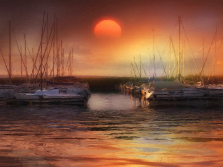 Sunset on the Lake - GabriellasArt by Gabriella Weninger-David