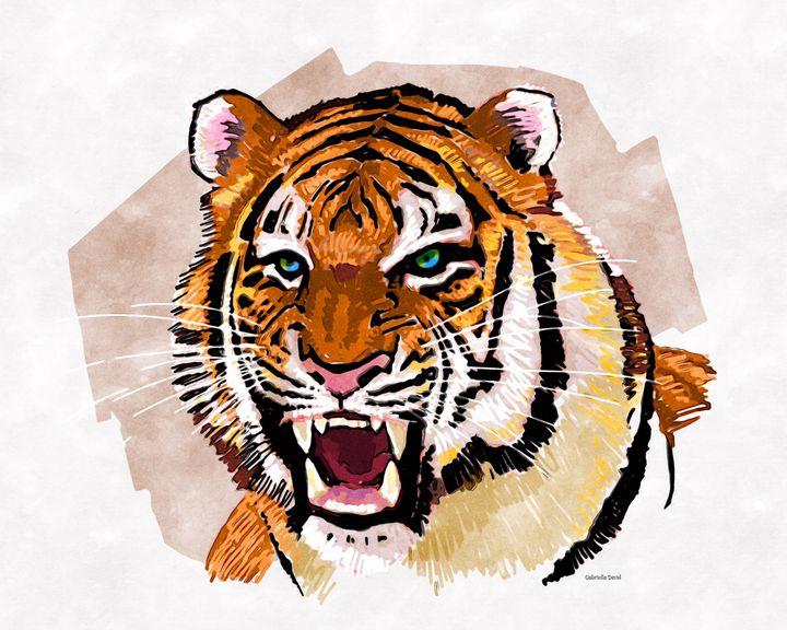 Tiger Head - GabriellasArt by Gabriella Weninger-David