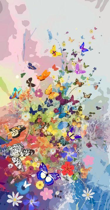 Butterflies and Flowers - GabriellasArt by Gabriella Weninger-David