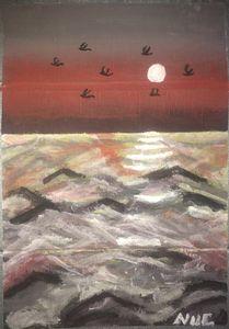 Ocean waves and sunrise
