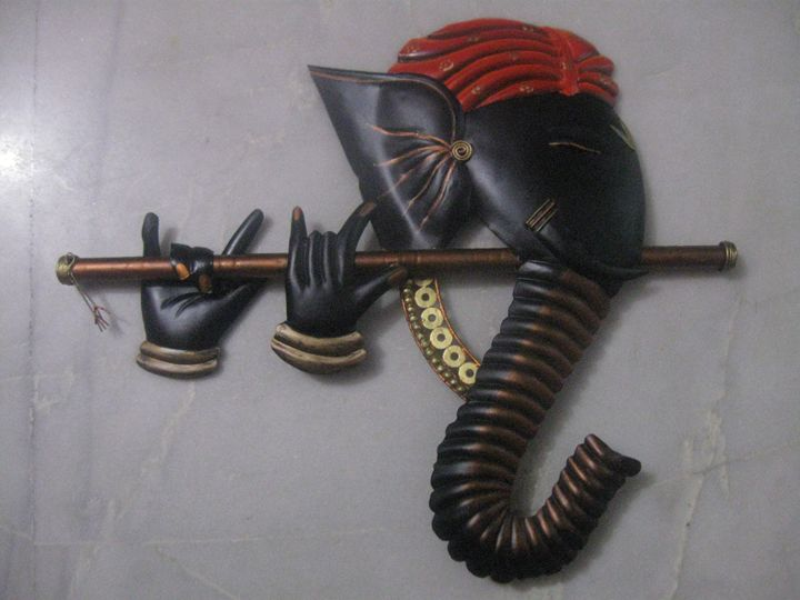 Murli Ganesha Iron Craft wall hanger - LAKSHIT EXPORT INDIA