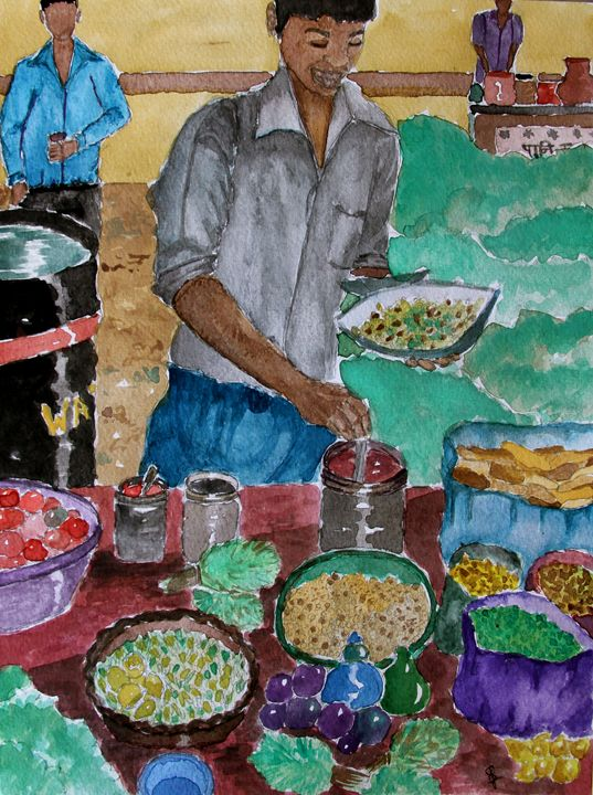 Street Seller - Paintings by Sam