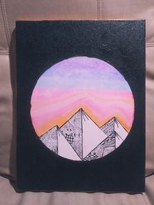 Zentangle Mountain Sunrise - Variety Arts by Jen