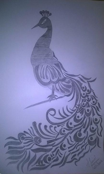 Peacock Pencil Sketch Saanvi Arts Drawings