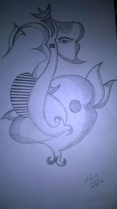 Floral Ganapathy Pencil Sketch - Saanvi Arts