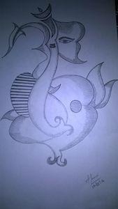 Floral Ganapathy Pencil Sketch