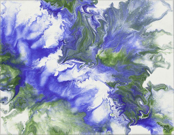 Cobalt and Green Abstract - Zen Den Artistry