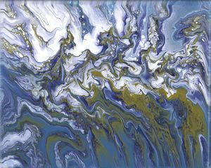 Blue, gold and white abstract