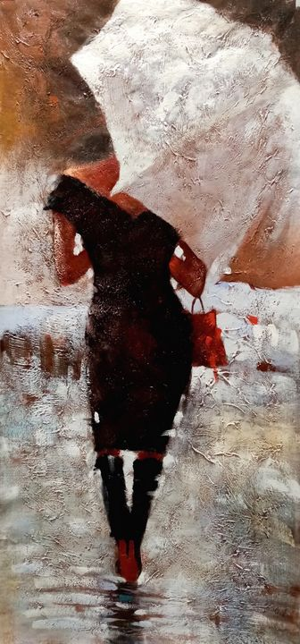 Woman With Umbrella In Black Dress - Art Gallery Roma