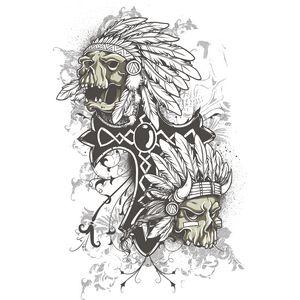 A cross alongside 2 scary skulls