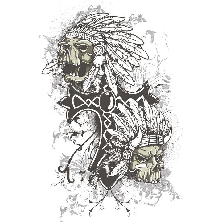 A cross alongside 2 scary skulls - Perfect designers