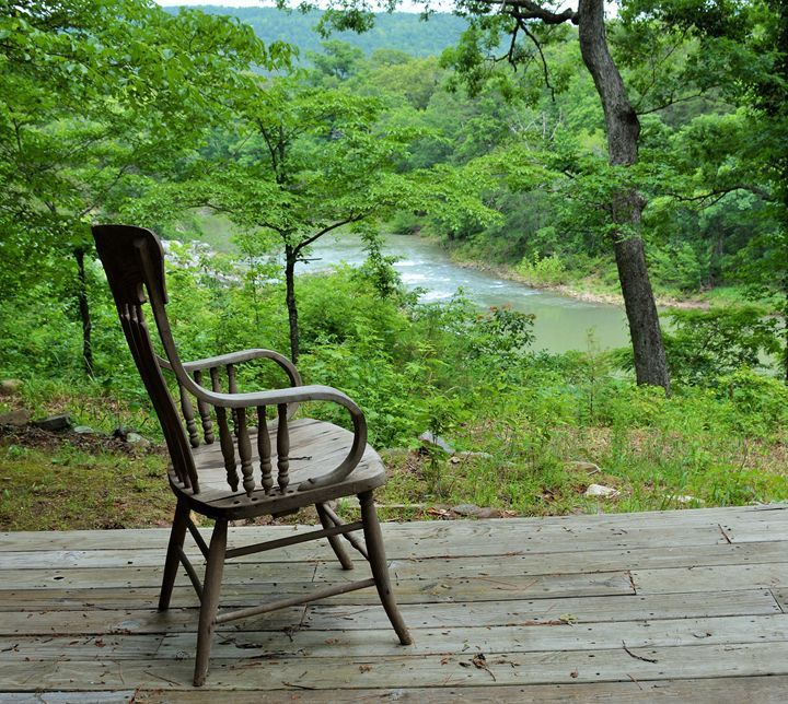 Setting chair by the river - Desimay's Fine Art