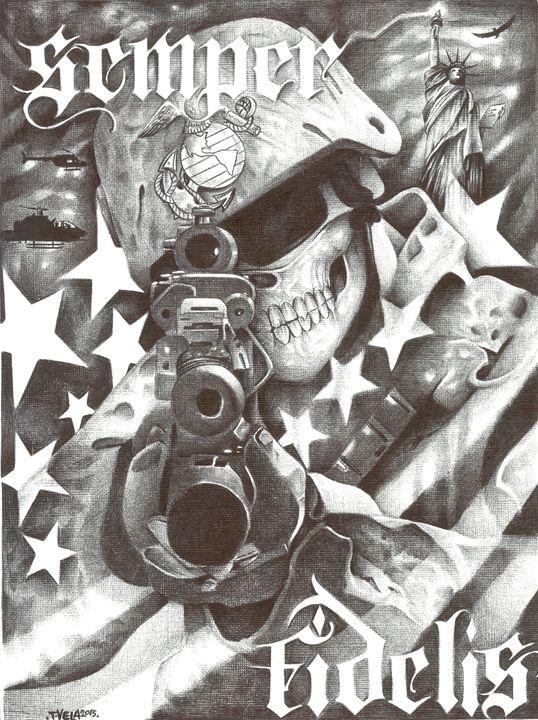 Semper Fidelis- US Marine - Tim Vela Art