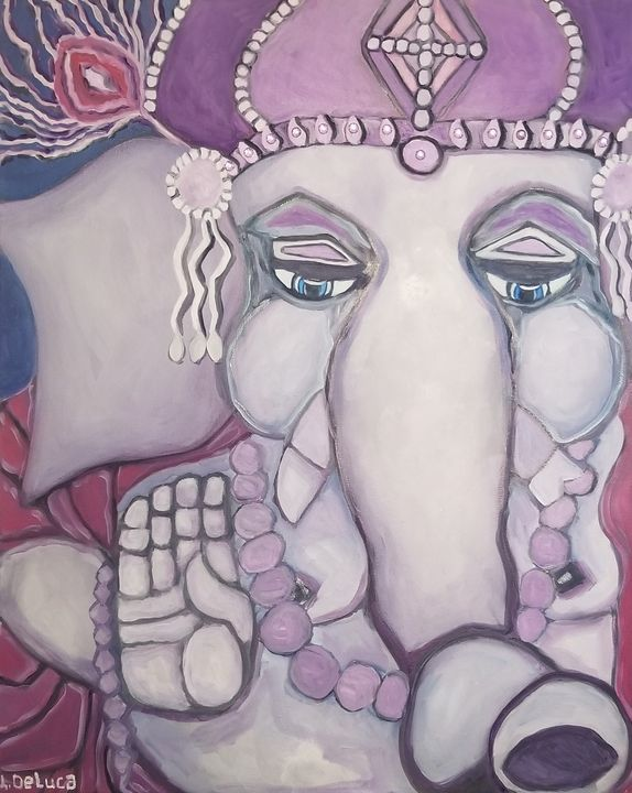 Ganesh with purple crown - Pink Lotus Art