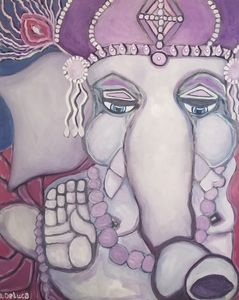 Ganesh with purple crown