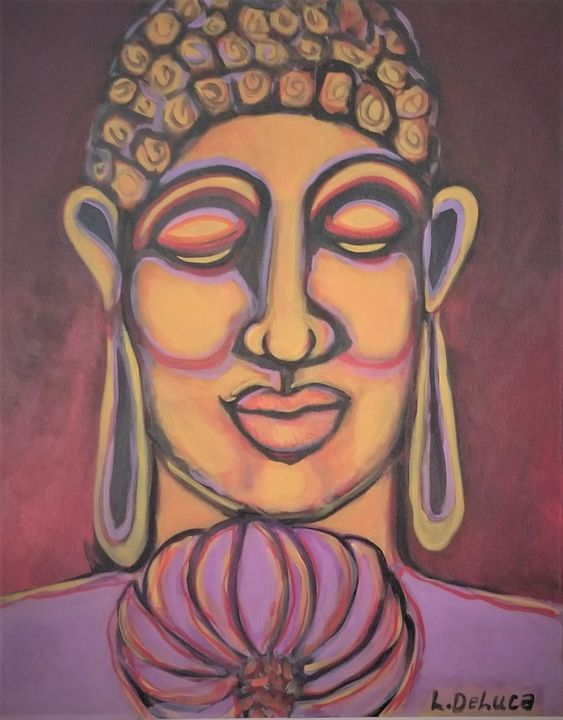 Buddha with purple lotus - Pink Lotus Art